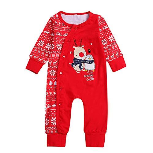 Cadeaux de Noël Bébés Nouveau-né Bébé Garçons Filles Grenouillères Noël Body Combinaison à Capuche Barboteuse Romper Jumpsuit Pyjama Tenues vêtements COVERMASON (18-24Mois, Rouge)