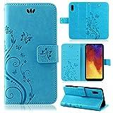 betterfon | Flower Hülle Handytasche Schutzhülle Blumen Klapptasche Handyhülle Handy Schale für Huawei Y6 2019 Blau