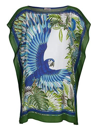 Alba Moda Strandtunika Kurzarm mit Animal Print in Grün aus Viskose