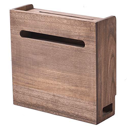 KIRIGEN 総桐ルーター収納ボックス コード収納ボックス スマホスタンド機能 完成品 植物オイル塗装仕上げ ブラウン