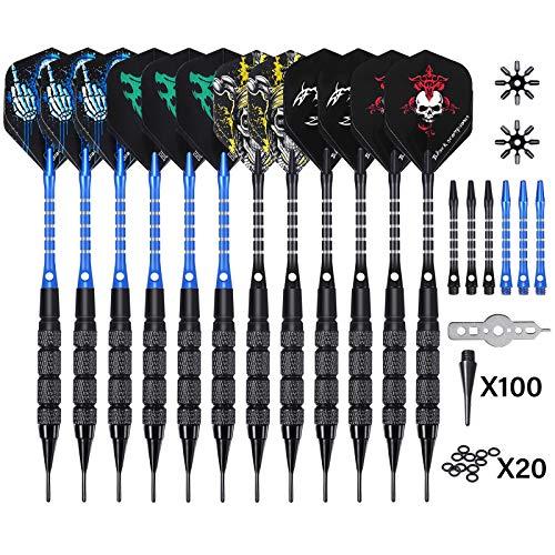 SGODDE Dartpfeile,12 Stück Darts Pfeile Set,27 Gramm Profi Soft Darts mit 100 kunststoffspitze,dartpfeil,Dart,Aluminium Schaft,20 Anti-Lose Gummiringe