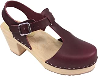 Lotta From Stockholm Highwood Tbar High Heel Clogs in Aubergine Leather