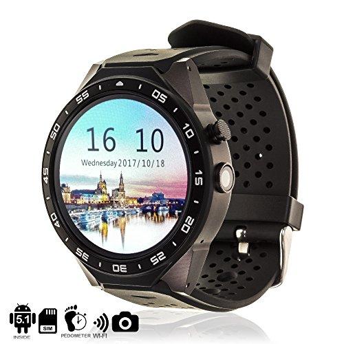 DAM TEKKIWEAR. DMX029BLACK. Smartwatch Phone Kw88 Mit Android 5.1 Betriebssystem, 3Mpx Kamera, Wi-Fi, SIM-Karte. Schwarz