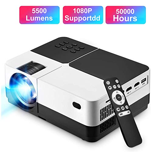 ?3-5 Days Shipping?Projector, Support 1080P HD Video Projector, 4000Lumen 176'' Display Movie Projector with 50,000 Hrs LED Lamp Life, Compatible with TV Stick, PS4, HDMI, VGA, TF, AV and USB (Black)