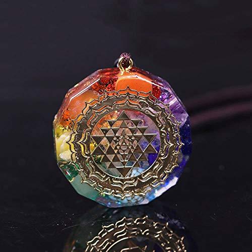 li's Teen girl present Orgonite Pendant Sri Yantra Necklace Sacred Geometry Chakra Energy Necklace Meditation Jewelry (Metal Color : Normal)
