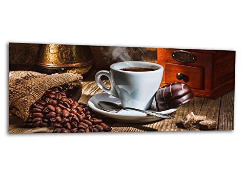 KD Dsign+ XXL Glasbild AG312500307 Mural Kaffee & Schokolade 125 x 50 cm/WANDBILD Deco Glass/Handmade