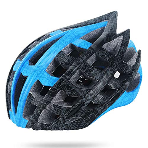 ILKJ Hombre Carretera Cascos Bici Negro Azul, Mujer Casco de Ciclo con...