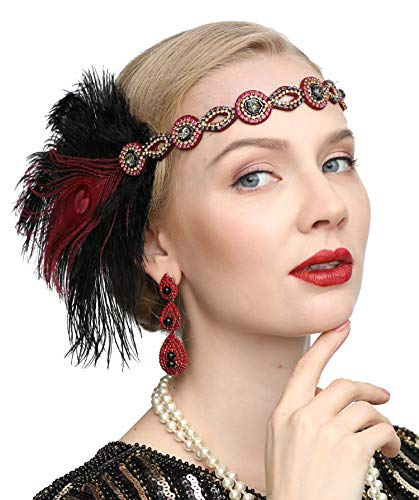 1920s Gatsby Flapper Feather Headband 20s Accessories Roaring 20s Headpiece with Peacock Feather(Black&wine)