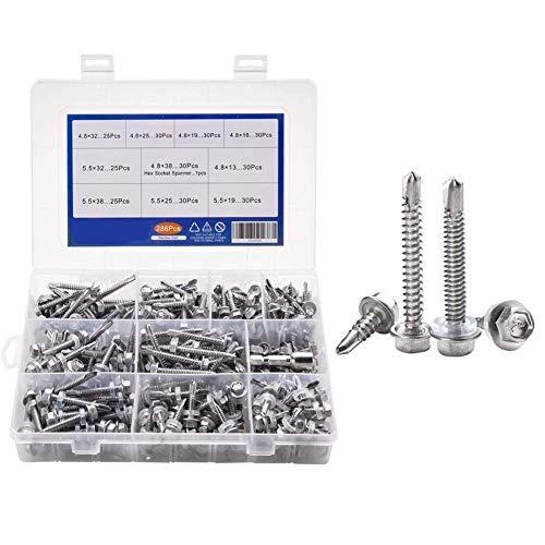 LOYAL TECHNOLOGY-PACKAGE Selbstfurchende Schrauben 286pcs 410 Edelstahl M4.8 M5.5 Hexagon Flansch selbstbohrenden Schneidschrauben Gewinde Verschiedene Kit mit Hex Steckschlüssel Hardware