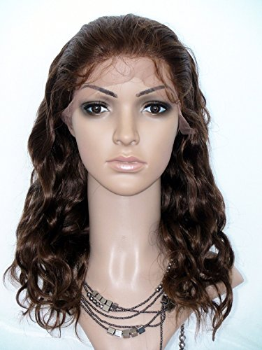 High-Quanlity Front Lace Wig Real With Stretch Lace Back Indian Virgin Remy Human Hair Body Wave Color #4(trademark:DaJun)