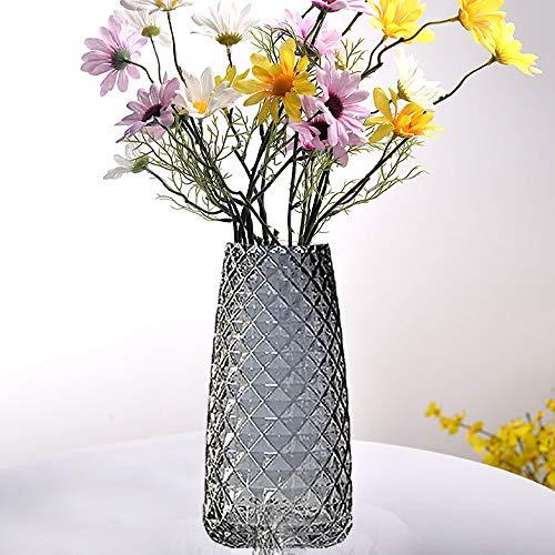 I3C Blumenvase Decorative Vase Glasvase rutschfest Kristallglas Dekovase mit Ananas Muster für Blumen Hydroponikpflanze für Home Office Tischregal