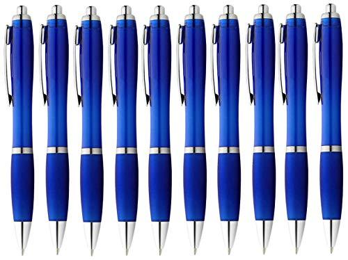 StillRich Industries ergonomischer Kugelschreiber 10 Stück | hochwertiger Kulli | blauschreibende Premium Kugelschreiberminen für weiches schreiben (10, Blau)