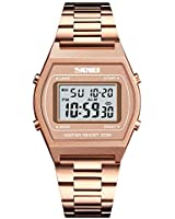 Rose Gold Watch for Women, Toocat Fashion Simple Ladies LED Digital Watch Stainless Steel Band Square Electronic Wrist Watch for Girls