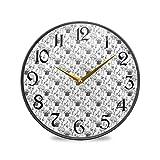 ART VVIES Reloj de Pared Redondo de 9,5 Pulgadas Sin tictac Silencioso Funciona con Pilas Oficina Cocina Dormitorio Decoraciones para el hogar-Doodle Seta Blanco y Negro Lindo