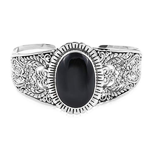 Royal Bali Handmade 925 Sterling Silver Cuff Bangle for Women Black Spinel Size 7.25', 43.001 Ct