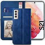 YATWIN Funda Samsung Galaxy S21, Cuero Premium Flip Folio Carcasa para Samsung S21, Bloqueo RFID, Soporte Plegable, Ranura para Tarjeta, Cierre Magnético, Compatible para Galaxy S21 - Azul