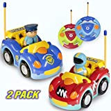 Haktoys Radio Control Cartoon Police Car and Race Car RC Remote Control Toys for Toddlers and Kids | Pack of 2 Cars in Different Frequencies - Two Players Can Play Together