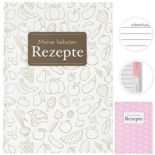 Rezeptbuch zum Selberschreiben, Kochbuch selbst schreiben, schnell finden mit Register, Rezeptideen inklusive, DIY Backbuch mit Inhaltsverzeichnis, DIN A5 liniert (classic)