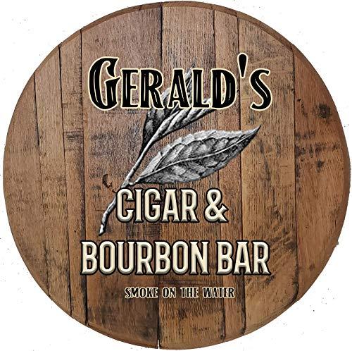Custom Cigar & Bourbon Bar Smoking Room on Lid Authentic Whiskey Barrel Wall Art