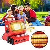 FUFRE Outdoor - Aparato de calefacción de gas para camping, calefacción, gas portátil, 1,3 kW. Calefacción de gas líquido, tipo casete o pesca, mini calefacción, color rojo