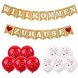 Akrcheft Willkommen Zuhause Banner für Dekoration Familie Partei Welcome Home Banner, mit 19 STK...