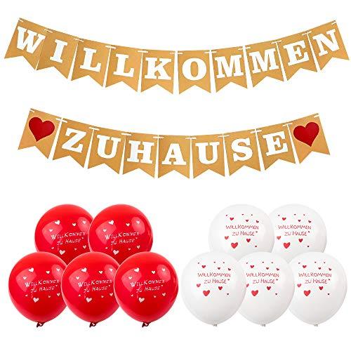 Akrcheft Willkommen Zuhause Banner für Dekoration Familie Partei Welcome Home Banner, mit 19 STK Wimpeln, 4 M Jute Seil und 8 Luftballons, für Hochzeit, Fest, Weinachten und Vintage Dekoration