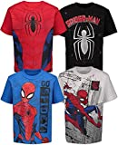 Amacigana Juego de 4 camisetas de Spiderman para niños de Marvel para toda la temporada sobre entrenamientos de fitness. A01 5 años