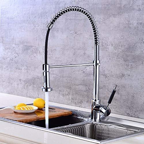 Küchenarmaturen aus Kupfer Doppelhebel mit doppeltem Einsatz Ausziehbarer 360 ° -Drehfedern Küchenarmaturen heißes und kaltes Mischen Spülbeckenarmaturen, A
