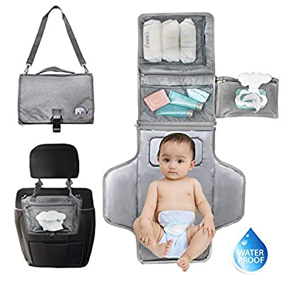 Portable Diaper Changing Pad with Built-in Head Cushion,Newborn Baby Changing Pad with Smart Wipes Pocket,Waterproof Travel Changing Mat Station kit,Baby Diaper Bag Shower Gift for Boys and Girls from musume