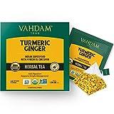 VAHDAM, Organic Turmeric + Ginger Powerful SUPERFOOD Blend (15 Tea Bag) Herbal Tea