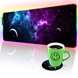 RGB Gaming Mouse Pad and Coffee Coaster,Nebula Galaxy LED Soft Extra Extended Large Mouse Pad, Anti-Slip Rubber Base, Computer Keyboard Mouse Mat - 31.5 X 12 Inch