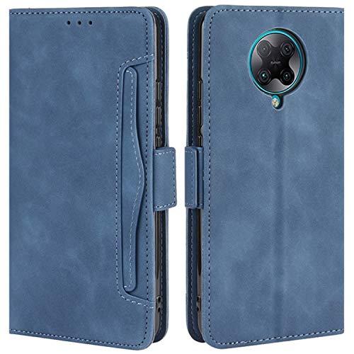 HualuBro Handyhülle für Xiaomi Poco F2 Pro Hülle Leder, Flip Hülle Cover Stoßfest Klapphülle Handytasche Schutzhülle für Xiaomi Poco F2 Pro Tasche (Blau)
