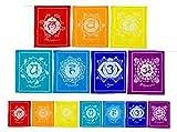 Panotophia Strang Gebetsfahne mit Chakrasymbole Gebetsfahnen 21 x 21 cm 160 cm