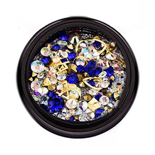 1 boîte de mode Nail Art strass 3D DIY décoration paillettes diamants pour DIY acrylique ongles téléphone portable Lunettes de décoration RoyalBlue ensemble