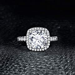 JewelryPalace Cushion 3ct Cubic Zirconia Promise Halo Solitaire Engagement Ring 925 Sterling Silver Size X #2
