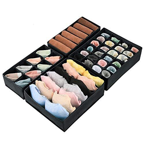 Magicfly Büstenhalter Aufbewahrungsbox, 4 Stück Faltbare BH Organizer für Unterwäsche, Dessous, Socken für Schublade Kleiderschrank, Schwarz