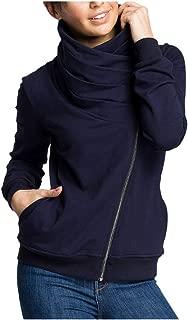 Fitfulvan Women's Diagonal Zipper Irregular Neck Pullover Pleated Pocket Sweater Coat Top
