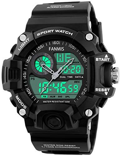 Mens Analog Digital Dual Display Sports Watches Military Multifunctional 50M...