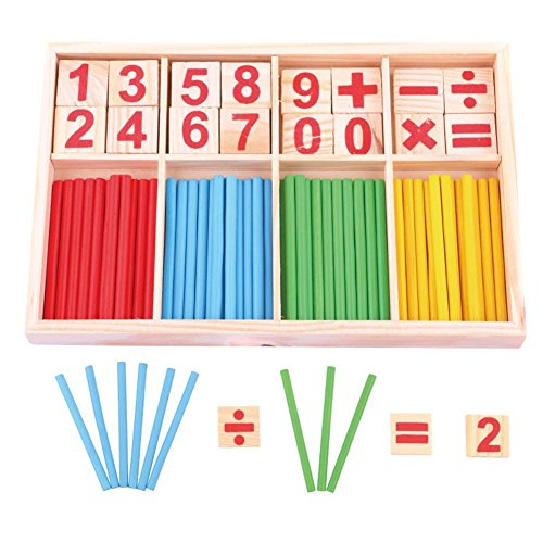 HugeStore Colorful Wooden Counting Sticks Rods with Box for Kids Toddlers Math Educational Learning Tools