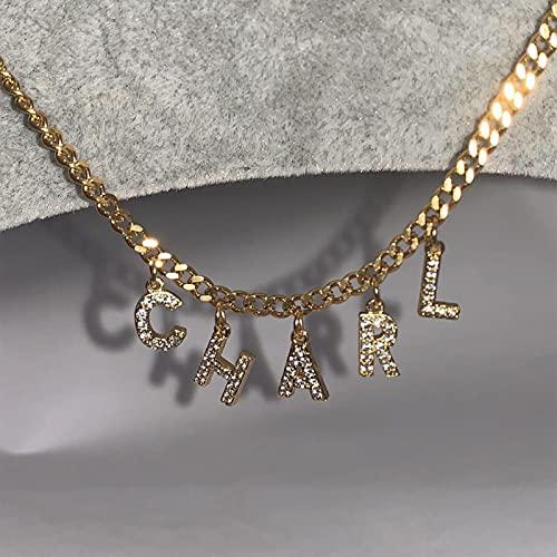 SONGK Collares Personalizados con Letra Inicial de circón para Mujer, Cadena de Acero Inoxidable Dorado, Collares con Letras de circón AZ, joyería