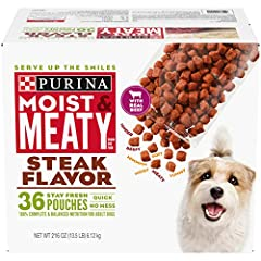 One (1) 216-Ounce Box Of Purina Moist & Meaty Steak Flavor Dog Food 100% Complete & Balanced Nutrition For Adult Dogs Serve Up The Smiles With Tender, Meaty Pieces Made With Real Meat Enjoy Convenience And No Mess With Individual Stay Fresh Pouches I...