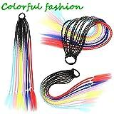 TYYLCZF Extensión de cabello Cola de cola de caballo Vestido, accesorios para el cabello de la fiesta colorida para trenzas de las mujeres, Moda para niñas Banda de goma Rainbow WIG Accesorios para el