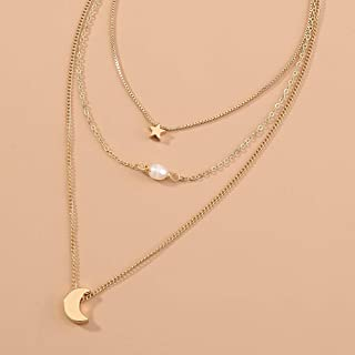 Jxc Versatile Alloy Necklace Fashion Temperament Versatile Multi Layered Clavicle Chain(Nz049 Star Moon Natural Freshwater...