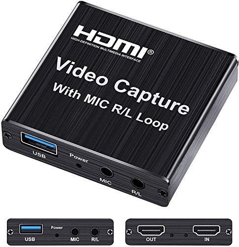 TKHIN Video Capture Card, Videoaufnahmekarte mit USB 2.0 und Mikrofon, 4K HDMI Loop Out Game Capture Card Live Streaming für Nintendo Switch/3DS, PS4, Xbox One, Kamera, PC