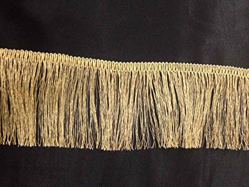 Oro metálico Lurex vestido flecos bordes