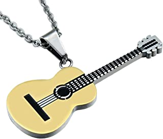 Argenté noir acier inoxydable cristal Guitar Pendentif blanc cuir tressé collier