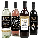 Adult Happy Birthday - Gold - Birthday Party Gift for Women and Men - Wine Bottle Label Stickers - Set of 4