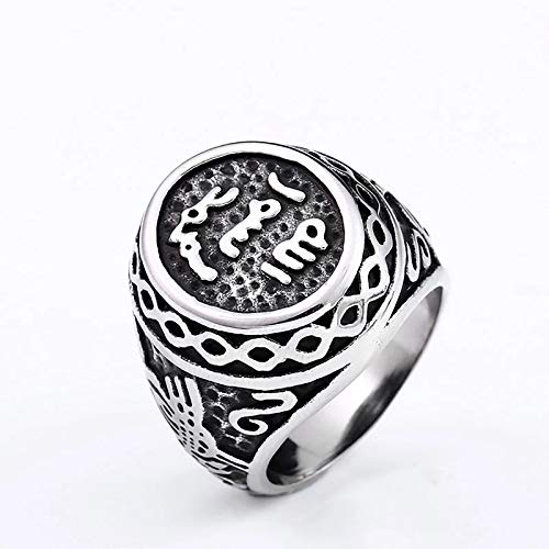HHW Viking Rune Ring, Nordic Mythology Totem Oval Ring for Men And Women Fashion Jewelry,11