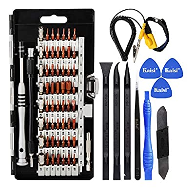 Kaisi 70 in 1 Precision Screwdriver Set Professional Electronics Repair Tool Kit with 56 Bits Magnetic Driver Kit, Anti Static Wrist Band, Spudgers for iPhone, Tablet, MacBook, PC, Xbox, Game Console by Kaisi