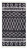Home and Home Alfombra Kelim Stripe de Fibras Naturales 100% algodón – Double Side, algodón, Blanco y Negro, 80 x 150 cm